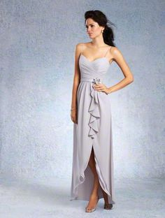 Alfred Angelo Style 7336L: Floor length chiffon bridesmaid dress with draped bodice with spaghetti straps and slim skirt