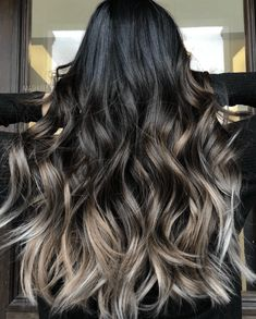 Raven Blue Ombre - 6 Colombre Combinations that Put Pop of Color in Hair Trends - The Trending Hairstyle Brown Hair Balayage, Brown Blonde Hair, Hair Color Balayage, Brunette Hair, Black Hair With Balayage, Brunette Ombre Balayage, Bayalage, Black Hair With Highlights, Hair Color For Black Hair