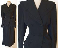 EXQUISITE Vtg 40's FRIESS Virgin Wool SUIT