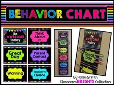 Behavior Chart - Goes perfect with neon brights and black classroom decor!