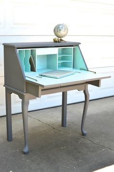 PORTFOLIO Secretary Desk - Slate and Aqua Painted Curved Leg Table by brasshipposhop on Etsy https://www.etsy.com/listing/237658337/portfolio-secretary-desk-slate-and-aqua