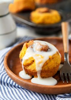 No-Yeast Pumpkin Cinnamon Rolls {small batch}