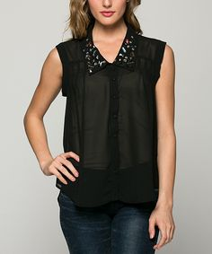 Love this La Scala Black Embellished Sleeveless Button-Up Top by La Scala on #zulily! #zulilyfinds