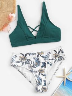 0262c3c016eb0 Criss Cross Seam Top With Random Floral Bikini · Beachwear FashionBikini  FashionFloral BikiniCute Bathing SuitsTankiniBikini SwimwearTwo PiecesCriss  ...