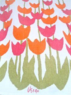 dutch tulips tea towel by vera neumann