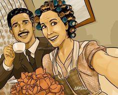 Dona florinda e professor girafaeles tomando café ela com o buque de flores em sua casa