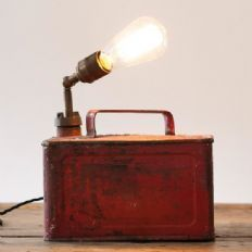 Vintage upcycled industrial can lamp