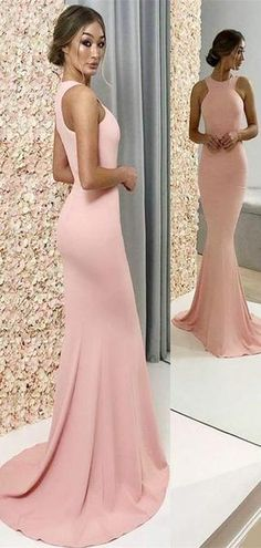 Cheap Long A-Line Halter Pink Satin Bridesmaid Dresses eddb4b7f6f9d
