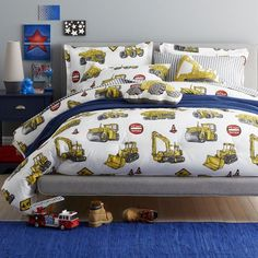 Construction Site Bedding - Little ones who like big trucks will love this fun kids' bedding collection! Our Construction Site kids' sheets are made for little builders, with realistic construction vehicles, building equipment and signs printed on soft, 200-thread count cotton.