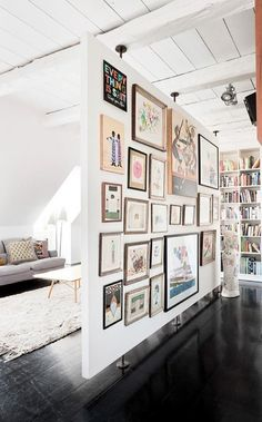 Grant & Mark Transform a Neglected House House Tour floating wall + gallery 15 Homey Rustic Living Room Designs Modern Home Design Decor, Interior, Walls Room, Free Standing Wall, Home Decor, House Interior, Divider Design, Room, Room Partition