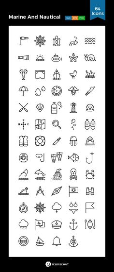 Marine And Nautical  Icon Pack - 64 Line Icons