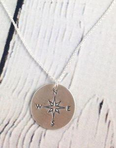 Handstamped Compass Necklace