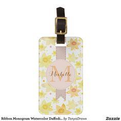 Ribbon Monogram Watercolor Daffodil & Dots Pattern Travel Bag Tags