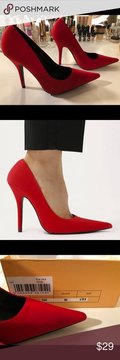 Red Pointy Pumps Brand new from Public Desire. 4 inch heel. Public Desire Shoes Heels
