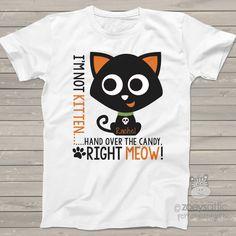 Halloween kids shirt, funny kitten meow t-shirt