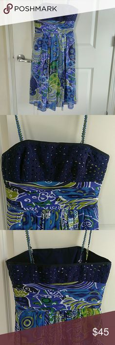 Anne Klein Strapless Summer Dress Blue Green Print Anne Klein Strapless Summer Dress Blue Green Print With Beaded Removable Adjustable Straps  Fully Lined Anne Klein Dresses Strapless