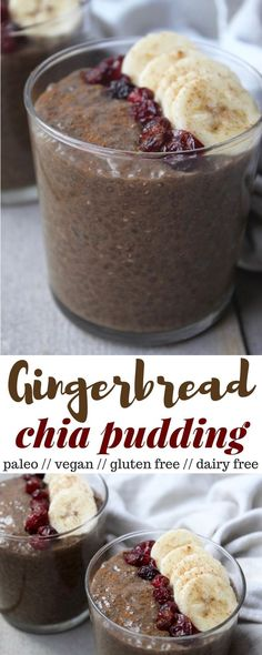 This Gingerbread Chia Pudding takes a classic holiday flavor and turns it into a gluten free, dairy free, vegan, and paleo healthy snack - Eat the Gains dessert christmas recipes Paleo Dessert, Healthy Dessert Recipes, Gluten Free Desserts, Whole Food Recipes, Healthy Snacks, Vegan Recipes, Paleo Vegan, Vegetarian, Healthy Muffins
