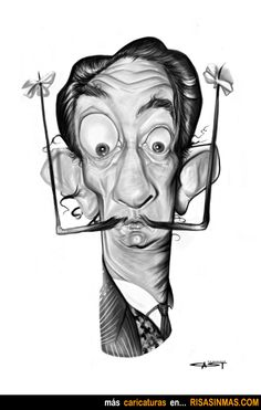 Salvador Dali, Spanish draftsman by Sebastian Cast -Dibujante Let's Make Art, Learn Art, Salvador Dali, Character Drawing, Character Design, Realistic Cartoons, Caricature Artist, Celebrity Caricatures, Cool Drawings
