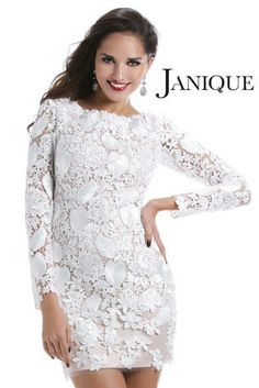 Janique - W040 A short lace cocktail dress with long sleeves in white or black at Estelle's Dressy Dresses! #estellesdressydresses #janique