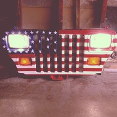 Wall art jeep grille. Wired to work with household outlet. Tj Ty jk
