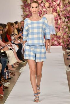 Oscar de la Renta Spring 2015 Ready-to-Wear - Collection - Gingham Tunic Top and matching shorts