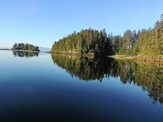Reflections In Brothers Island Cove. This photo, of Island Reflections in an Inlet Cove, was taken at Brothers Islands, Frederick Sound in the Inner Passage of southeast Alaska. Nature, outdoor, wildlife and landscape scenes photographed by NaturesPix