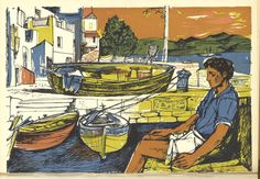 The best art exhibitions to see outside London 2017 – Museum Crush / John Minton, Lithograph illustration from Time Was Away, A Notebook in Corsica by Alan Ross Art And Illustration, History Of Illustration, Illustrations, Most Popular Artists, New Artists, British Artists, John Minton, Op Art, The Life