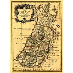 Israel Tribes Palestine - (1767) - Panoramic Map (100% Cotton Towel Absorbent), Blue wash