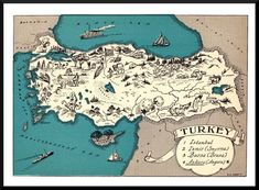ANTIQUE ANIMATED MAP OF TURKEY. This fun picture map features sketches of people, industry, vegetation, boats and more. Antique Maps, Vintage Maps, World Map Decor, Turkey History, Sketches Of People, China Map, Map Pictures, Cartoon Pics, Cartoon Picture