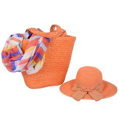 ıthal turuncu hasır çanta ,şapka ve renkli boyunluk