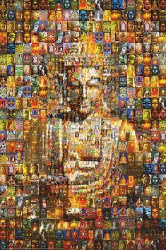 Mosaic Buddha made up of many Buddha pictures. Art Buddha, Buddha Kunst, Buddha Painting, Buddha Peace, Buddha Statues, Gautama Buddha, Buddha Buddhism, Little Buddha, Zen Meditation