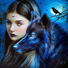 Wolf Goddess, Wiccan Art, Crow Art, Moon Witch, Wolves And Women, Wolf Love, Bad Wolf, Gothic Art, Witchcraft