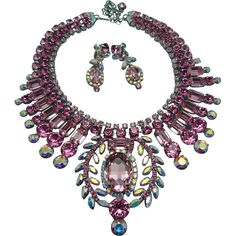 """ON HOLD: Signed Thorin & Co """"Pretty In Pink"""" Old Hollywood Style Crystal Statement Parure"""