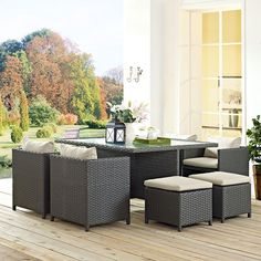 Sojourn 9 Piece Outdoor Patio Sunbrella(R) Dining Set, Antique Canvas Beige - Outfit your patio with an imaginative outdoor sectional series of exceptional quality. The Sojourn series offers a robust seating experience that easily rearranges according to usage. Outfitted with industry-leading Sunbrella(R) fabric cushions, synthetic rattan weave, UV protection, powder-coated aluminum frame, immensely enjoy your outdoor time with a series that enhances patio, backyard or poolside areas. This…