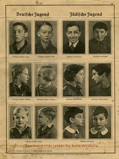 """On display at the Museum, a racial propaganda poster which was taken from a German classroom after the war by Lt. Charles Wilson. The poster shows German Youth on the left and Jewish Youth on the right. The caption on the bottom: """"From the Face Speaks the Soul of the Race."""""""