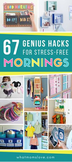 67 Life Changing Organization Tips & Hacks For Stress-Free Mornings Hacks, tips & tricks for stress-free mornings with your kids - ideas for morning routine checklists, backpack nooks, clothing organization, lunch prep & more! Morning Routine Chart, Kids Routine Chart, Morning Routine Kids, Before School Routine, School Routines, School Hacks, School Tips, Daily Routines, School Stuff