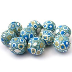 Polymer Clay Beads with Retro Pattern in by RolyzCreations on Etsy, $18.00