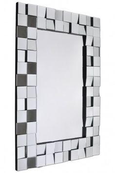 Lustro Edge  Ozdobne lustro Edge robi ogromne wrażenie. Stylowe lustro podkreśla urok wnętrza, w którym się znajduje. Rama wykonana z fazowanych kwadracików lustra wklejonych pod różnymi kątami. Krawędź boczna koloru czarnego. Edge to propozycja na lustro dekoracyjne do przedpokoju, do sypialni i do salonu. Mirror, Furniture, Home Decor, Interior Design, Home Interior Design, Arredamento, Mirrors, Home Decoration, Decoration Home