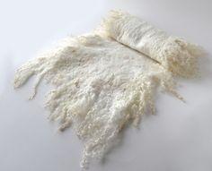 Felted scarf -  white cream fur raw wool. $83.00, via Etsy.