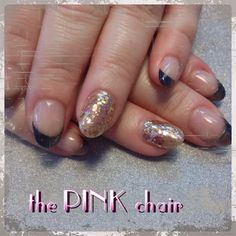 Dark French Manicure with Glitter nail accent Gel Nail