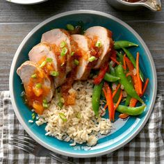 Whether you're serving a party of two or making a bigger batch for company, you'll find this air-fryer sweet and sour pork a succulent choice. —Leigh Rys, Herndon, Virginia Pork Recipes, New Recipes, Cooking Recipes, Favorite Recipes, Chicken Recipes, Cooking Ideas, Yummy Recipes, Air Fryer Dinner Recipes, Air Fryer Recipes Easy