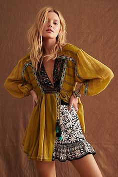 Sabeena Embroidered Tunic by Free People, Green, XS Look Boho, Bohemian Style, Bohemian Summer, Hippie Style, Boho Fashion, Fashion Outfits, Lolita Fashion, Punk Fashion, Retro Fashion