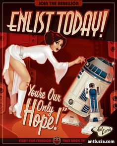Star Wars Leia Pin-Up Propaganda poster - You're Our Only Hope