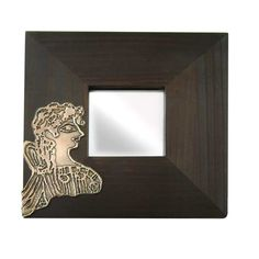 """Mirror depicting the famous fresco from the Palace of Knossos, the so-called """"La Parisienne"""". 1400 B., Knossos, Crete Dimensions: 25 cm x 25 cm x 1 cm Wooden mirror with copper. Crete, Corporate Gifts, Fresco, Mirrors, Palace, Personalized Gifts, Sculptures, Copper, Museum"""