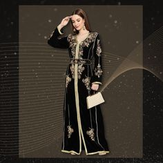 One can never have enough black Abaya Kaftan Gowns especially if they are as chic as this one! Adorned by hand with a variety of luxe beads along with golden lace, this velvet ensemble is perfect for upcoming winter weddings! Product no: 8657