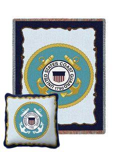 Coast Guard Tapestry Pillow and Throw Set - Buy at Snugglebug Pillows and Throws www.snugglebugpillowsandthrows.com