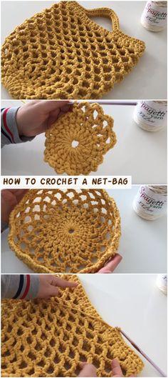 How To Crochet A Net-Bag - Crochetopedia - Crochet market bag free pattern - Crochet Home, Crochet Gifts, Diy Crochet, Ravelry Crochet, Tutorial Crochet, Crochet Handbags, Crochet Purses, Crochet Bags, Crochet Designs
