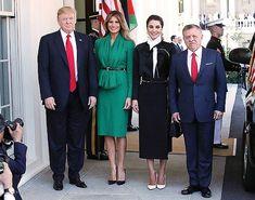 Дональд Трамп с женой Меланией, король Иордании Абдалла II и королева Рания а также Иванка Трамп и Джаред Кушнер в Белом доме