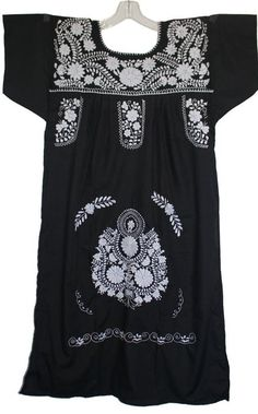 6462461ee76 Embroidered Mexican Peasant Dress with Solid White Embroidery (Black size  Small) White Embroidery