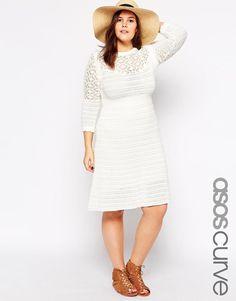 ASOS Curve   ASOS CURVE Exclusive Dress In Crochet at ASOS